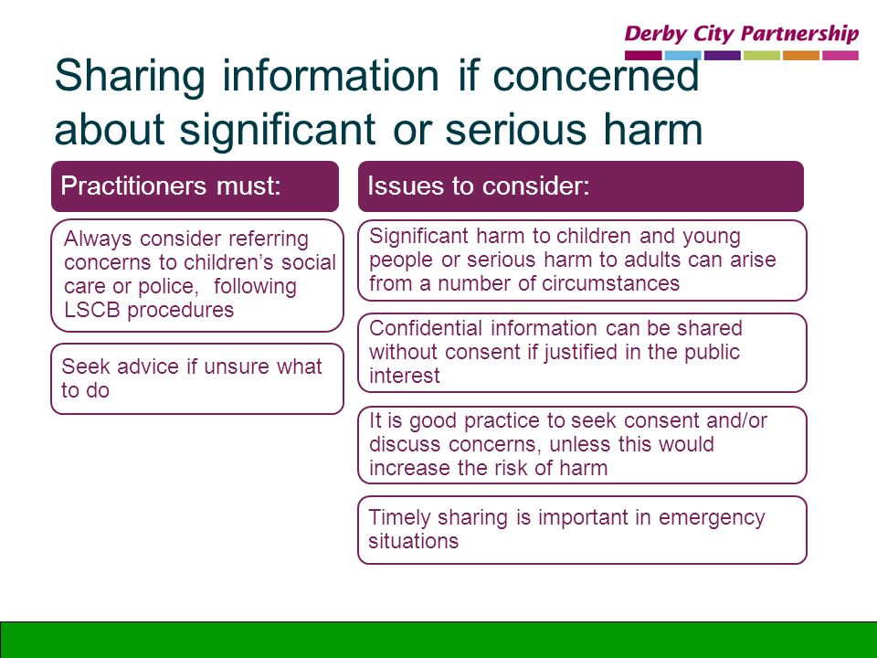 Sharing information if concerned about significant or serious harm