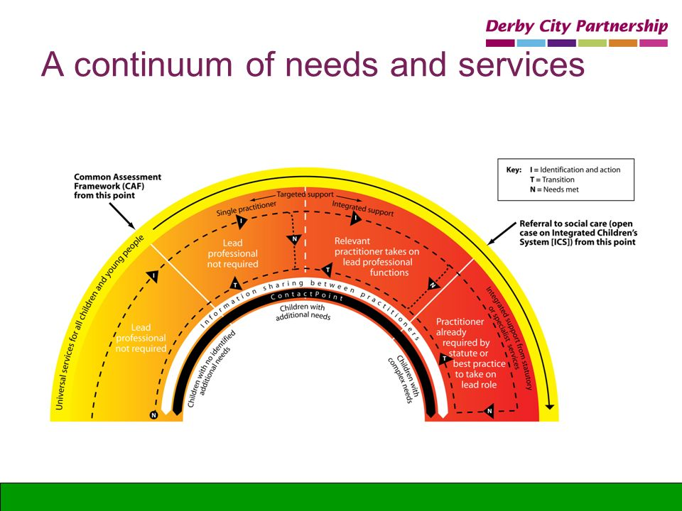 A continuum of needs and services