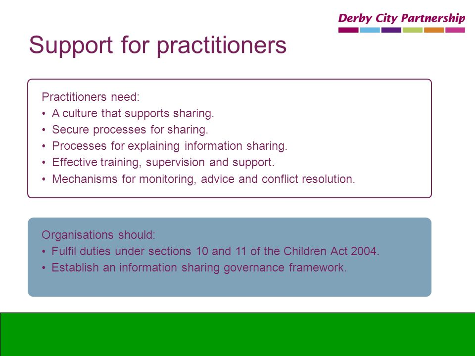 Support for practitioners