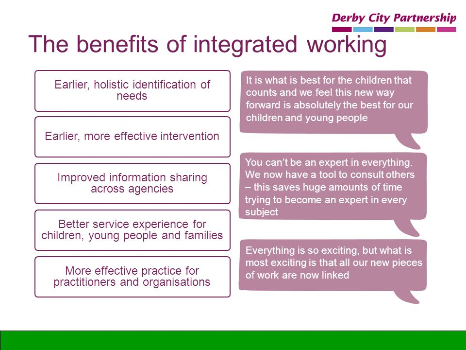 The benefits of integrated working