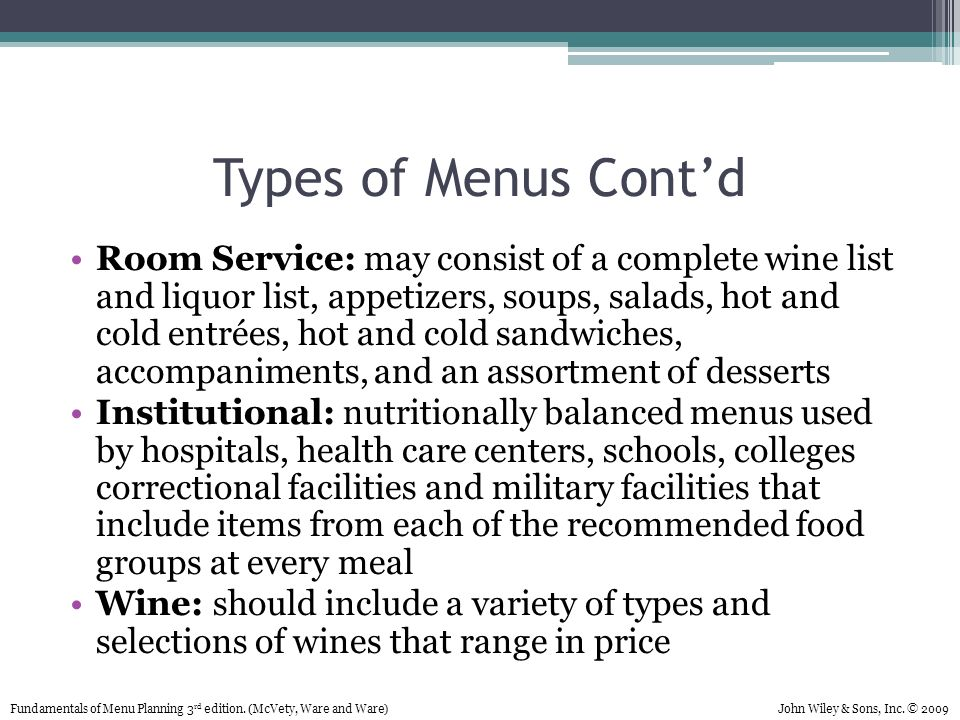 List Food Items Used For Cold Presentation
