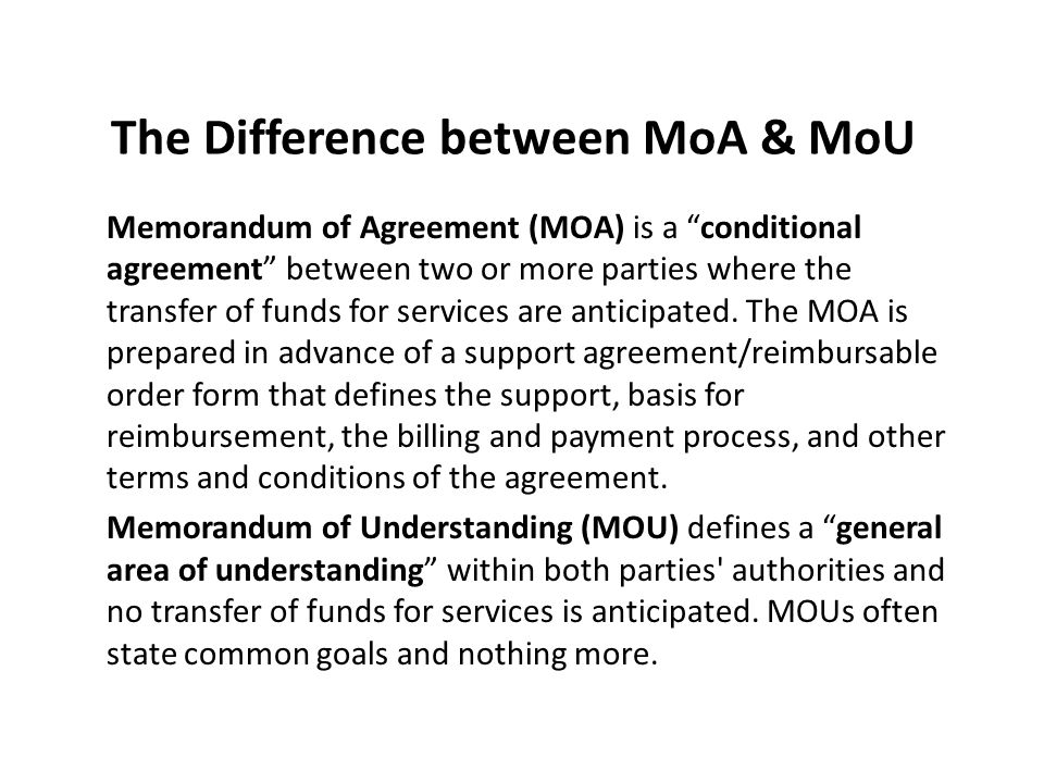 memorandum of agreement funding