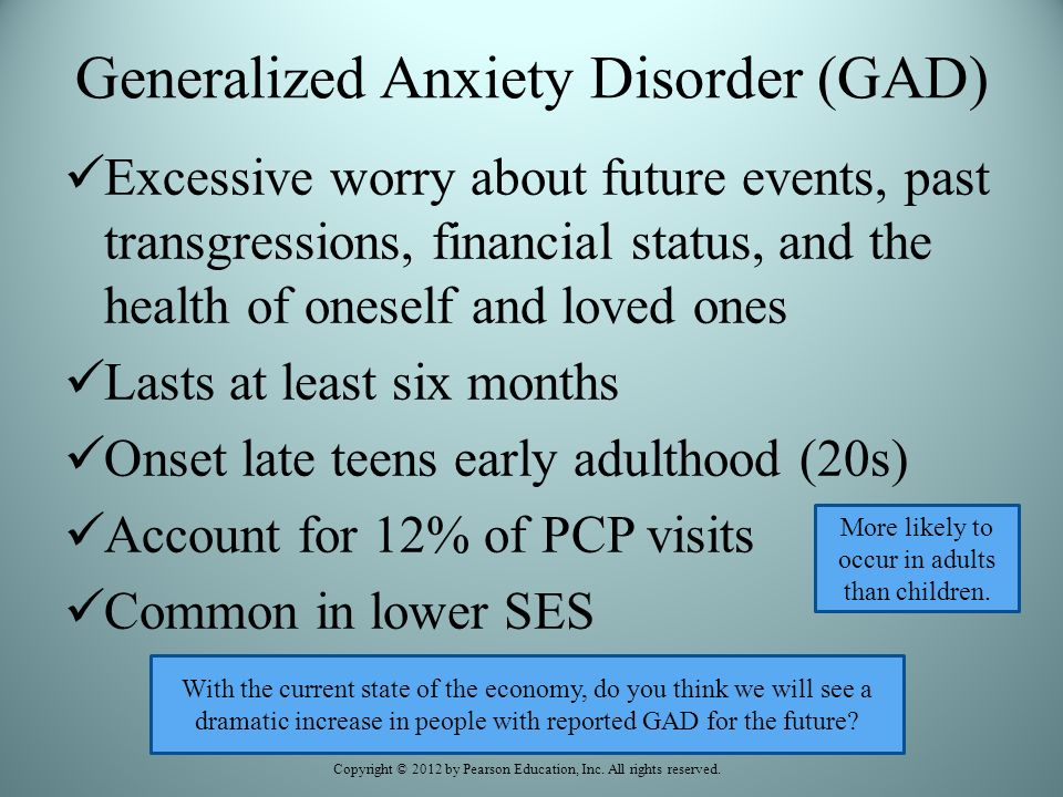 Understanding GAD and the Symptoms Generalized Anxiety Disorder GAD is characterized by persistent and excessive worry about a number of different things