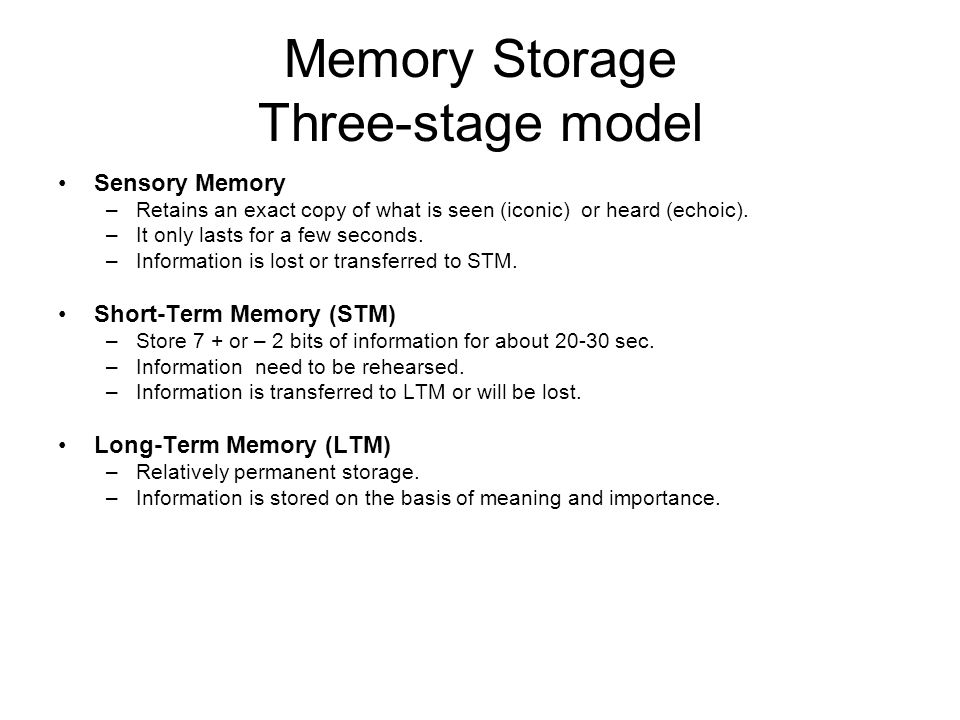the amount of information stored in the iconic memory This is an example of iconic memory, which is your visual sensory memory there are two other types of sensory memory echoic memory (the auditory sensory) and haptic memory (the tactile sensory) types of sensory memory iconic memory is the visual sensory memory that holds the mental representation of your visual stimuli.