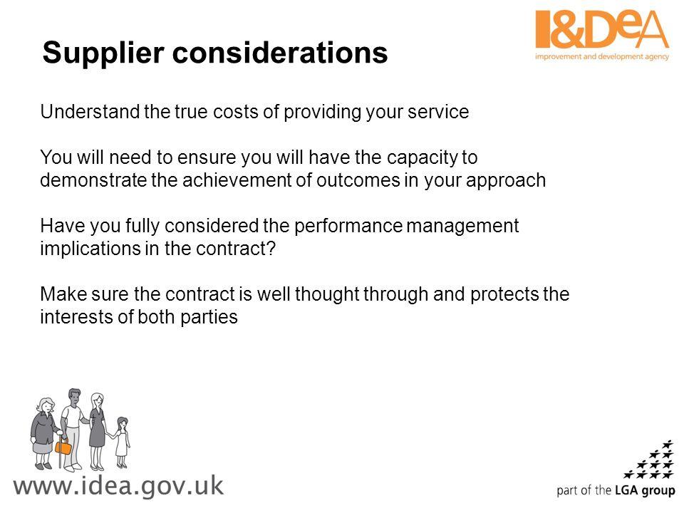 Supplier considerations
