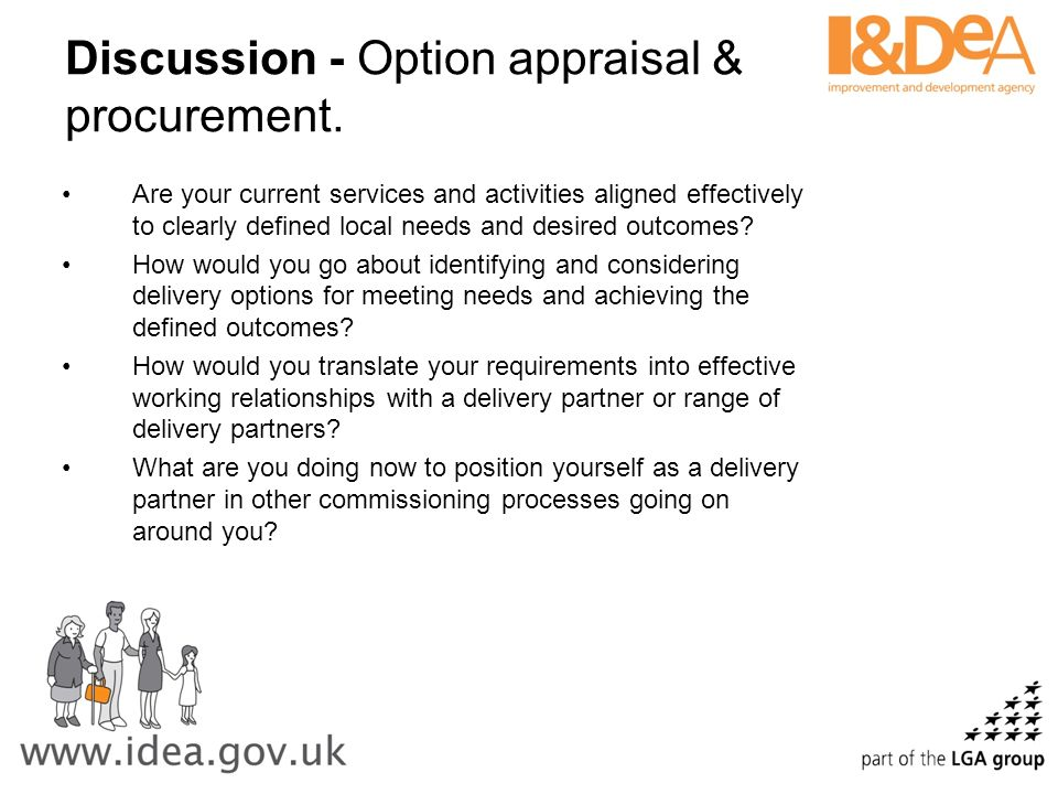 Discussion - Option appraisal & procurement.