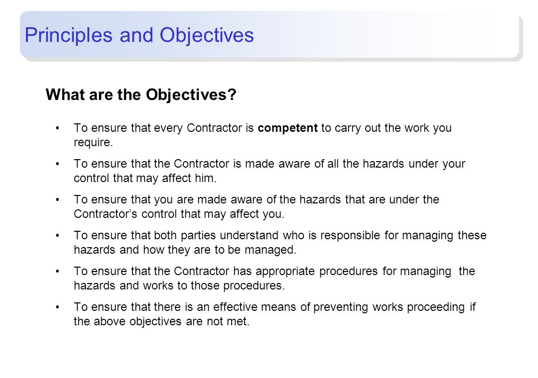 Principles and Objectives