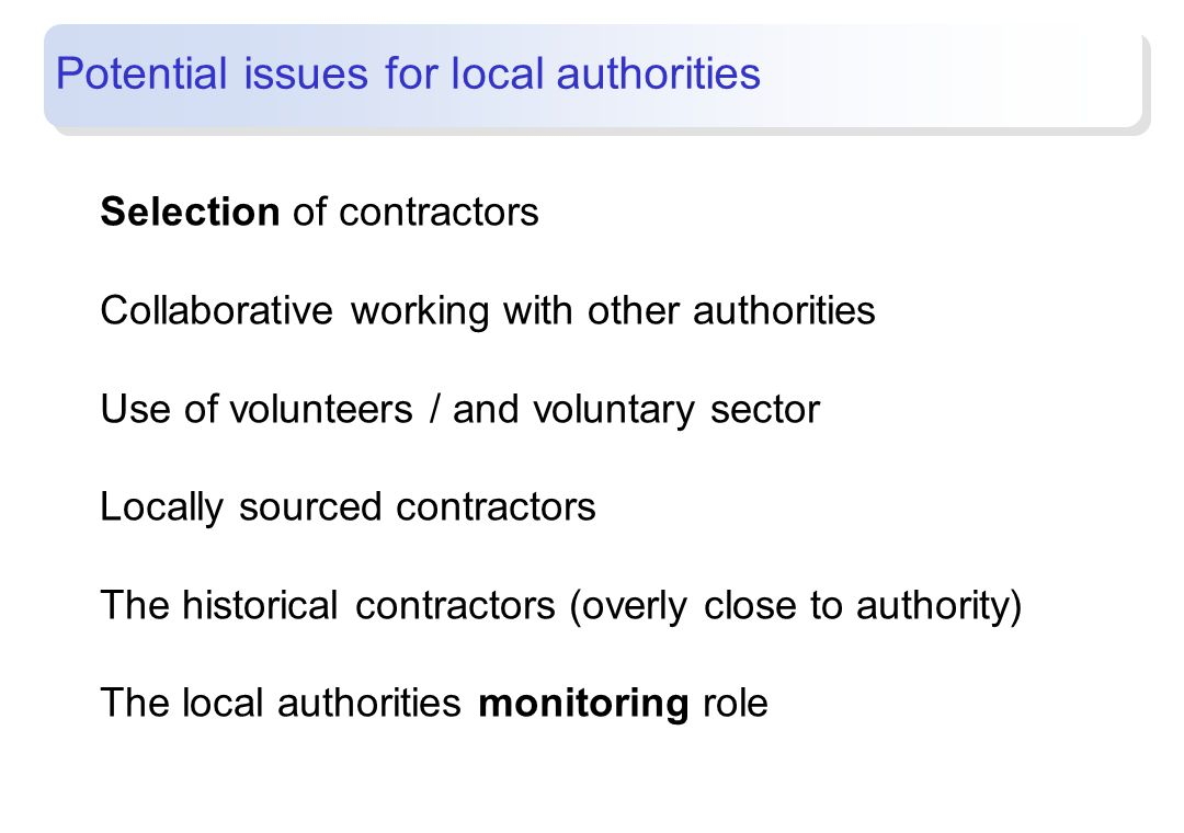 Potential issues for local authorities