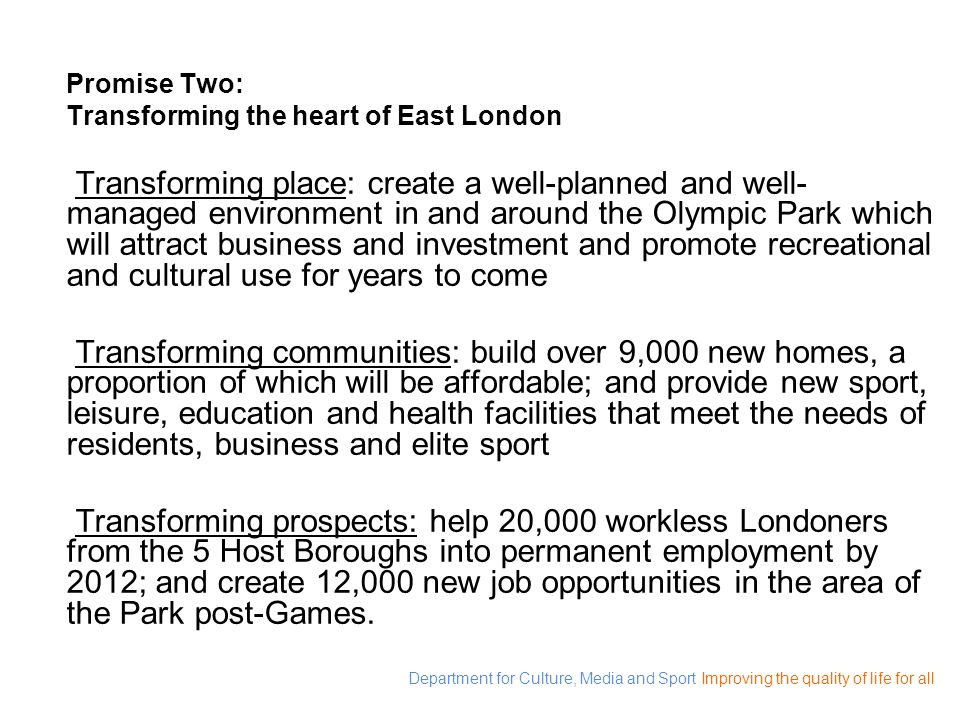 Promise Two: Transforming the heart of East London.
