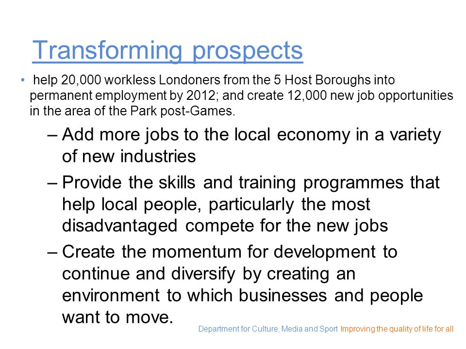 Transforming prospects