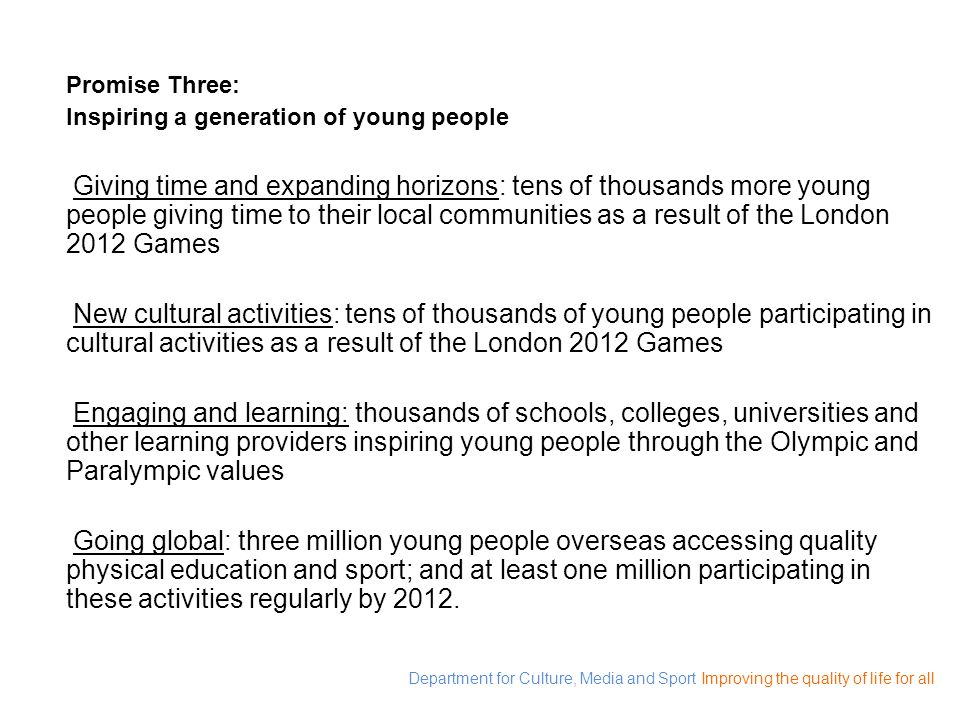 Promise Three: Inspiring a generation of young people.