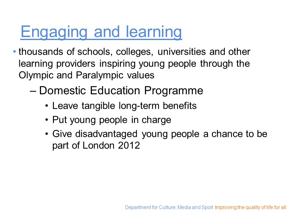 Engaging and learning Domestic Education Programme