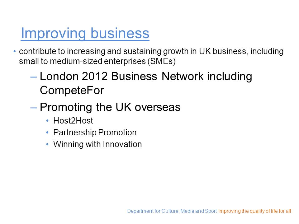 Improving business London 2012 Business Network including CompeteFor