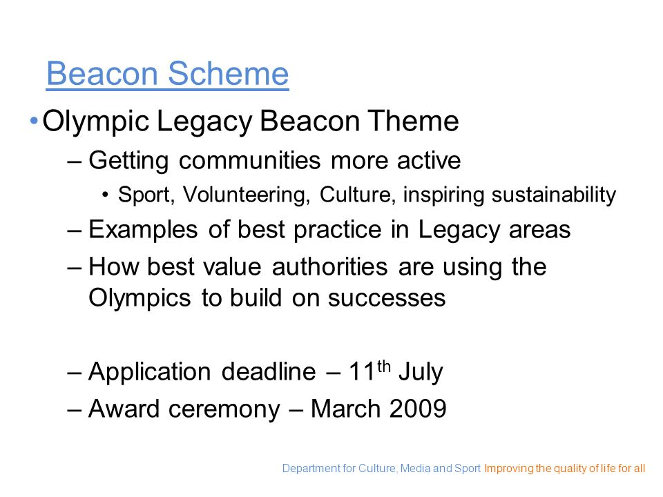 Beacon Scheme Olympic Legacy Beacon Theme