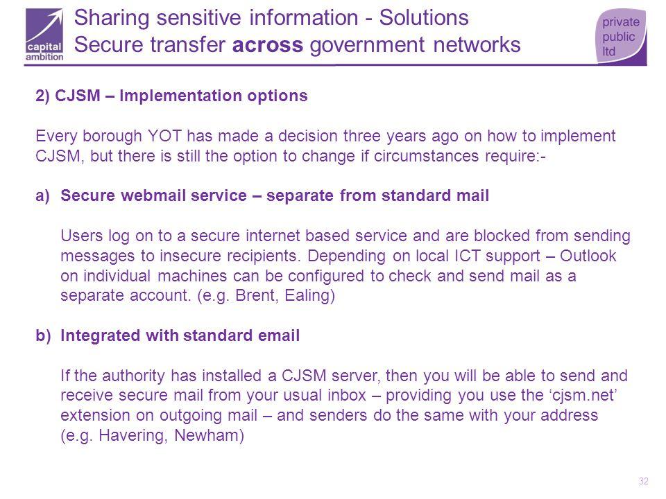 CJSM implementation options