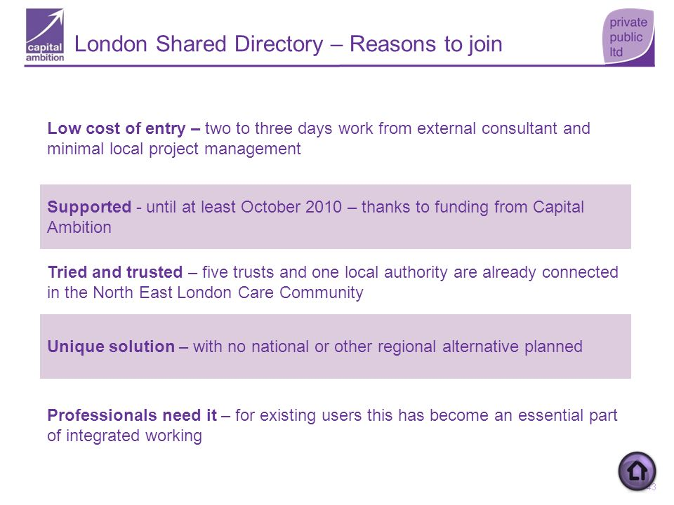 London Shared Directory – Reasons to join