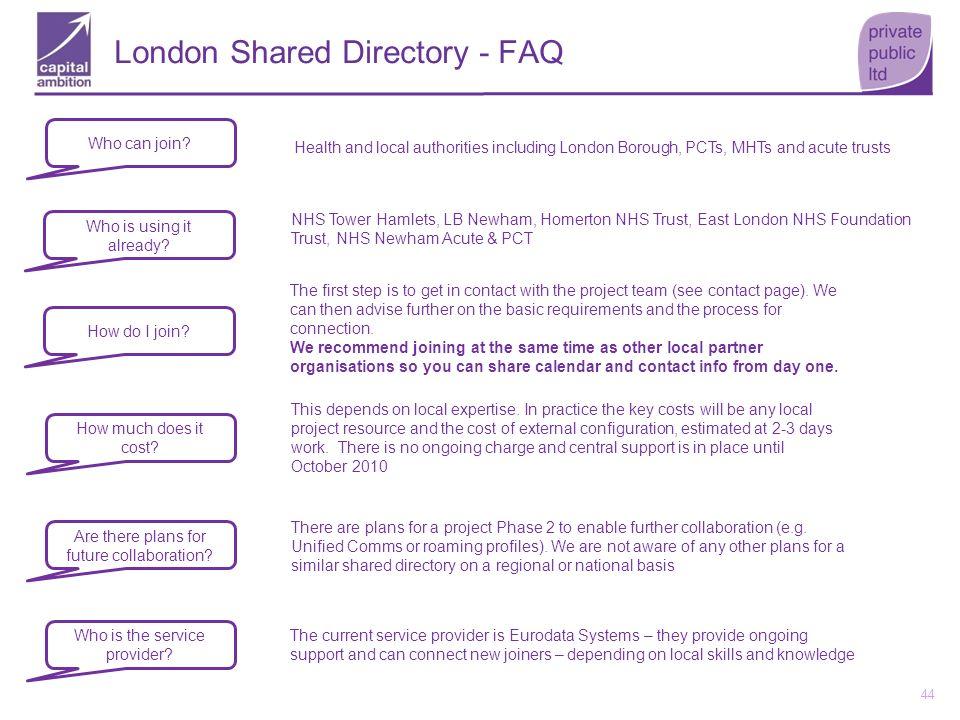 London Shared Directory - FAQ