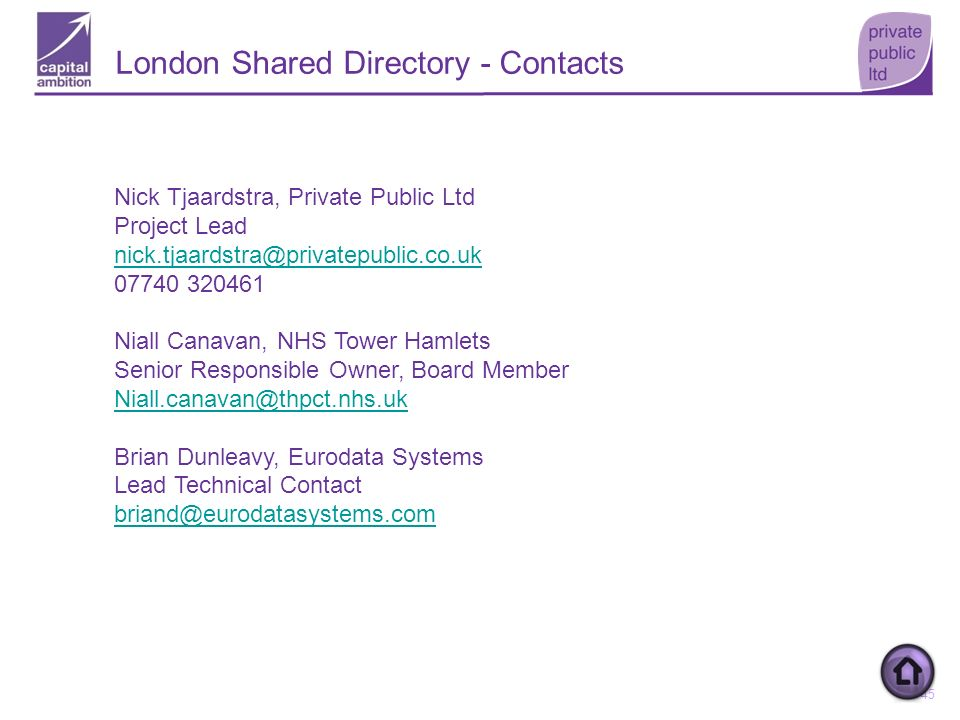 London Shared Directory - Contacts
