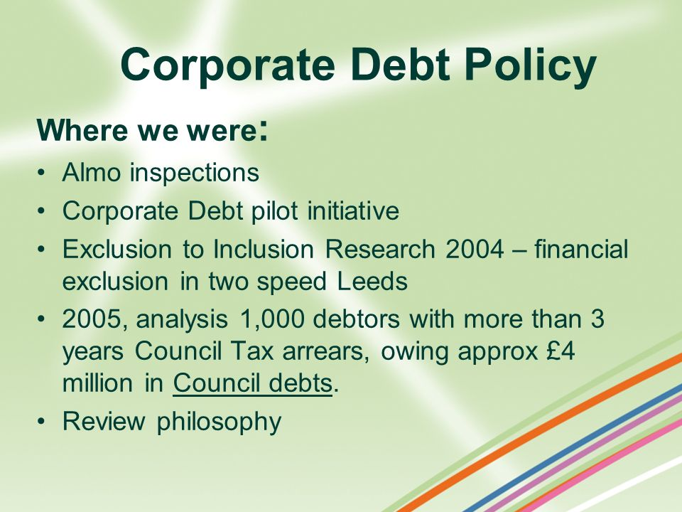 Corporate Debt Policy Where we were: Almo inspections