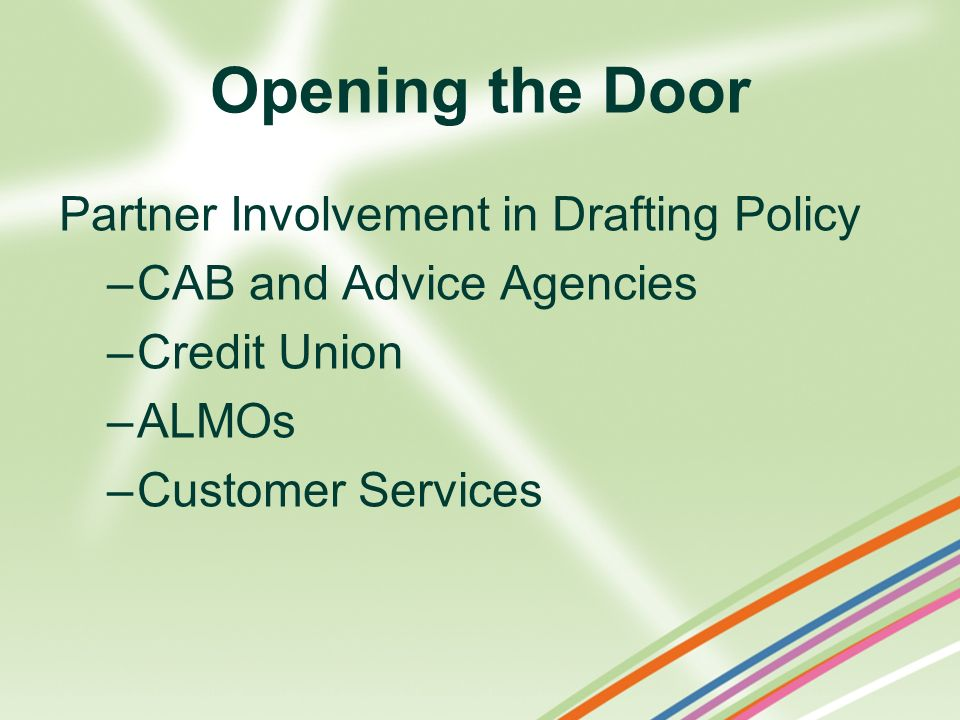 Opening the Door Partner Involvement in Drafting Policy