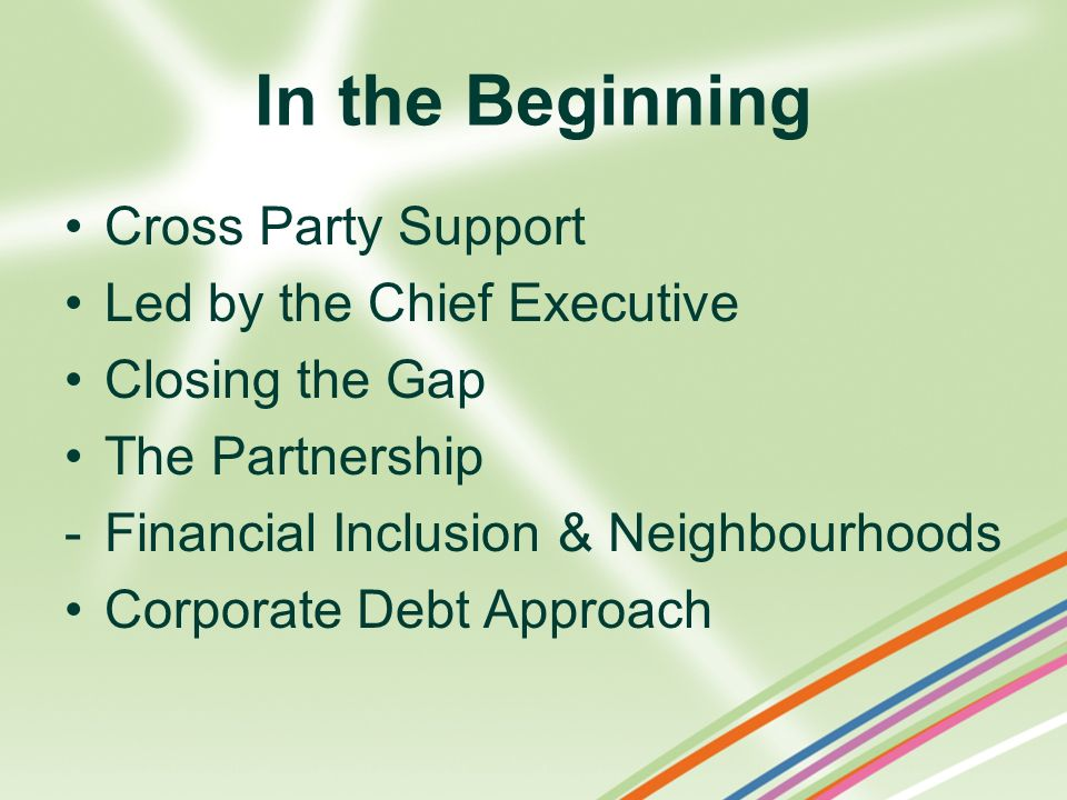 In the Beginning Cross Party Support Led by the Chief Executive
