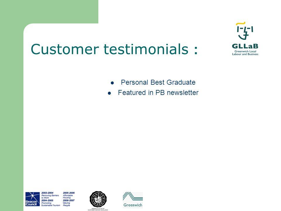 Customer testimonials :