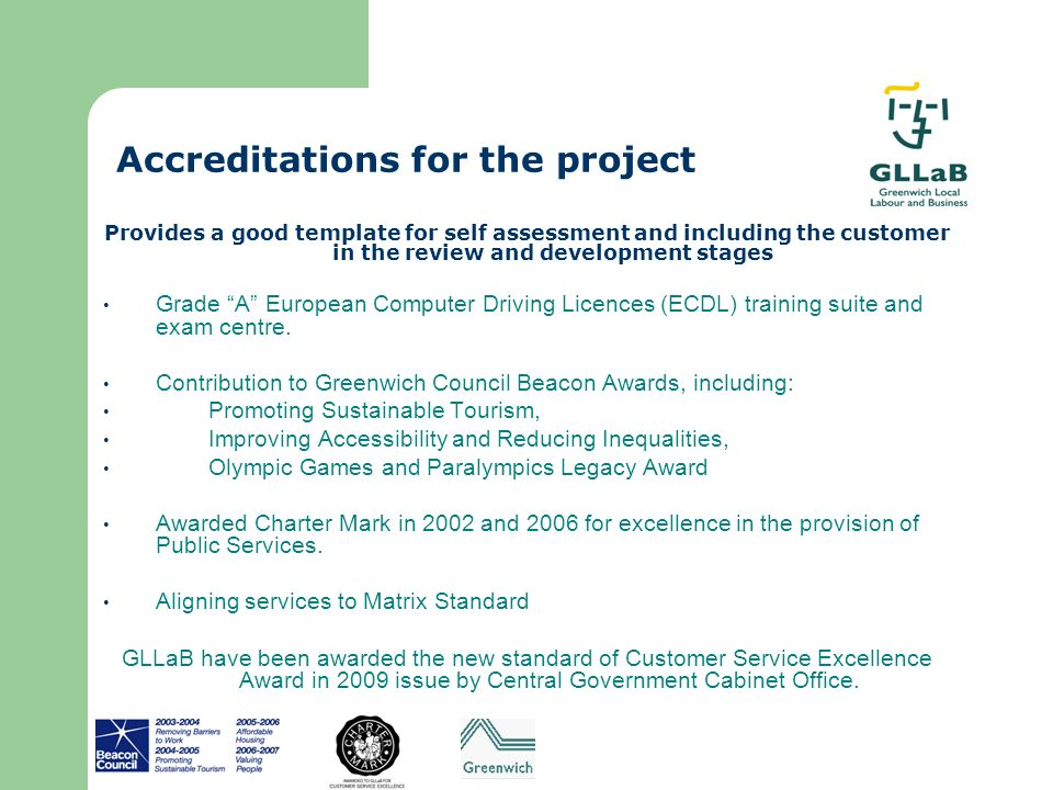 Accreditations for the project