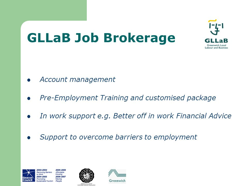 GLLaB Job Brokerage Account management