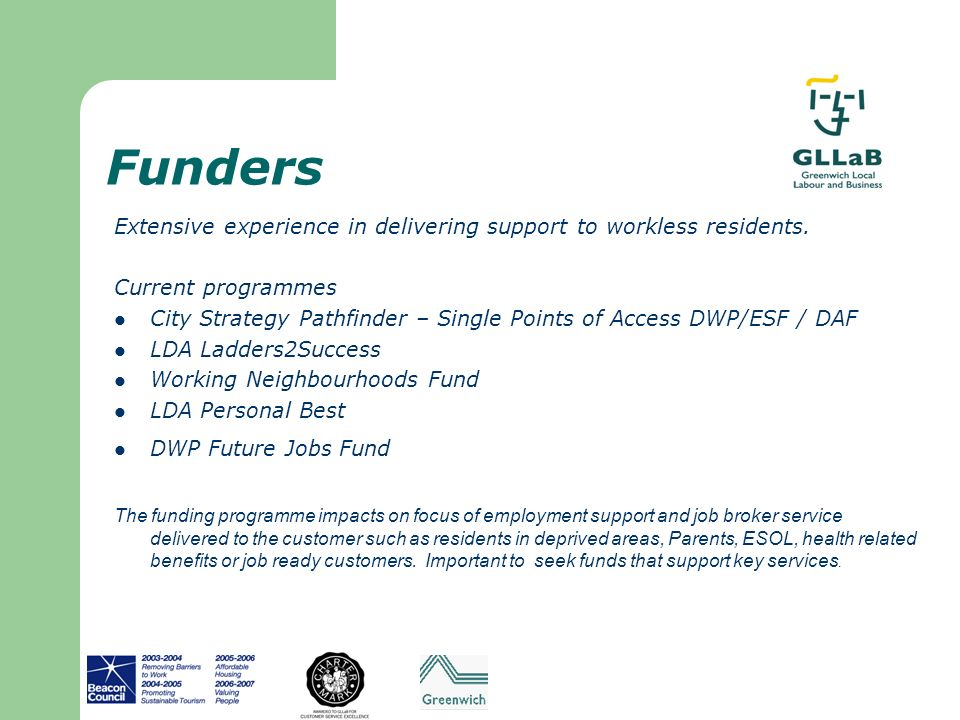 Funders Extensive experience in delivering support to workless residents. Current programmes.