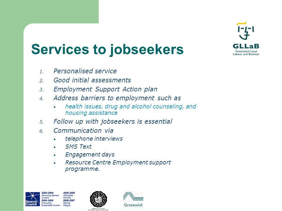 Services to jobseekers