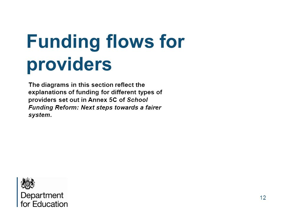 Funding flows for providers