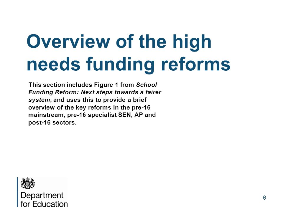 Overview of the high needs funding reforms