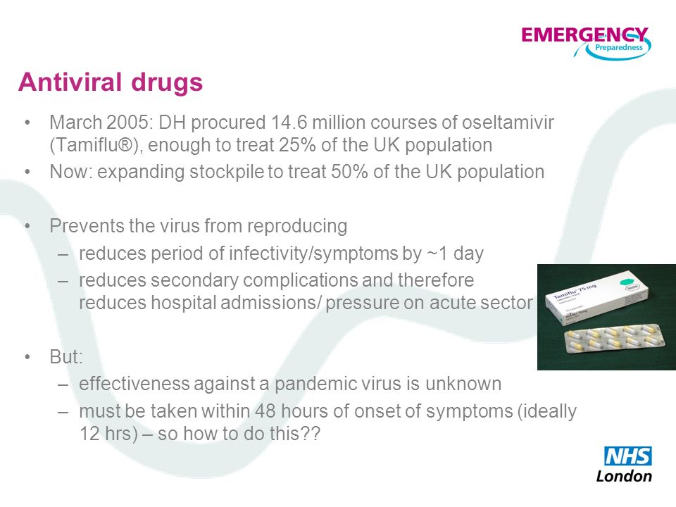 Antiviral drugs March 2005: DH procured 14.6 million courses of oseltamivir (Tamiflu®), enough to treat 25% of the UK population.