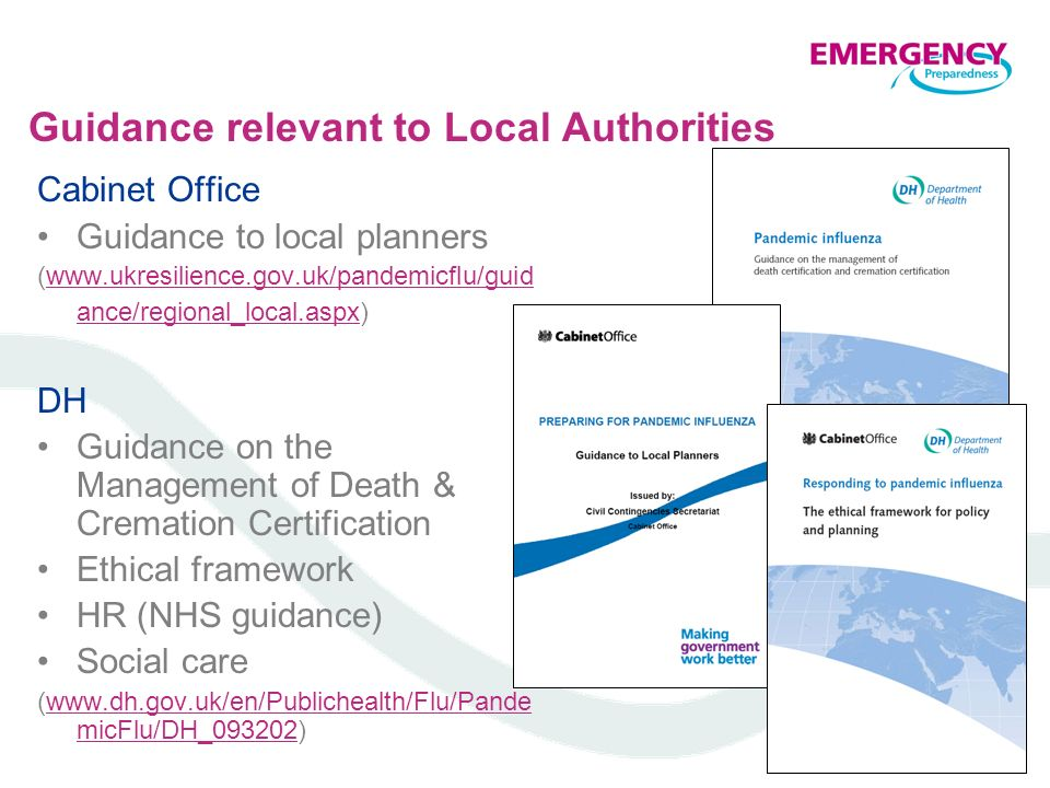 Guidance relevant to Local Authorities