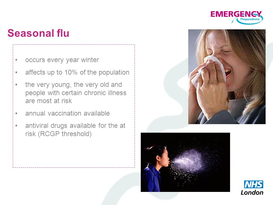Seasonal flu occurs every year winter