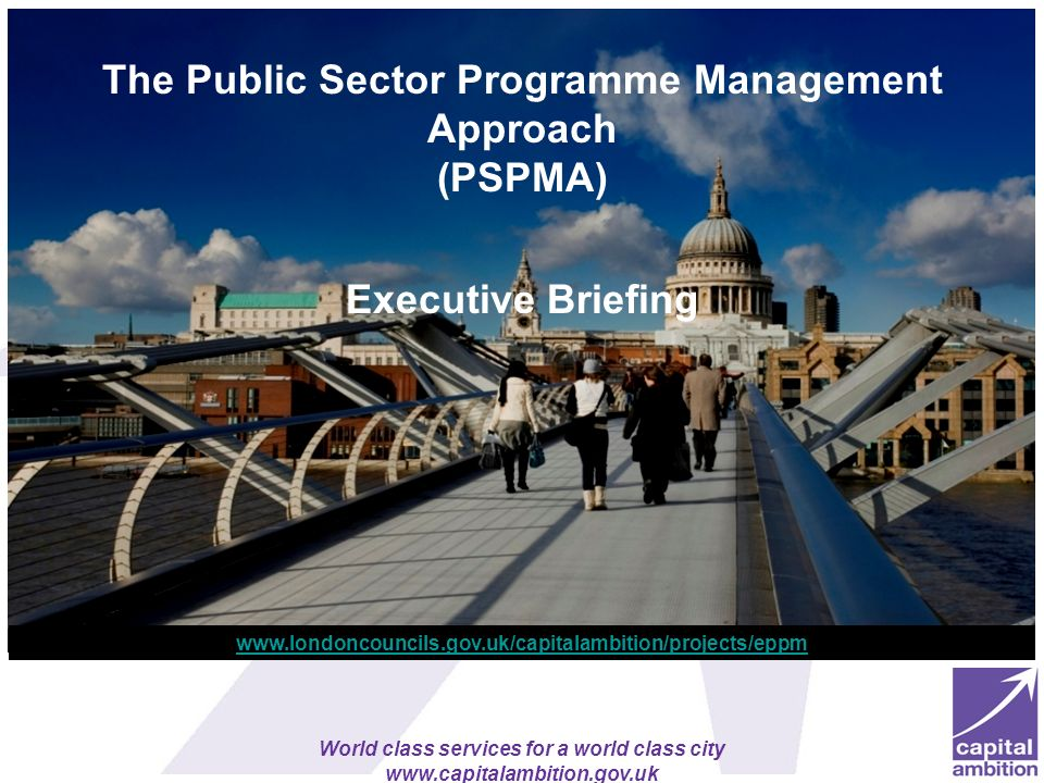 The Public Sector Programme Management Approach (PSPMA) Executive Briefing