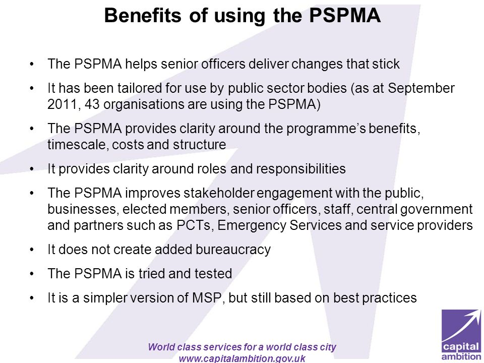 Benefits of using the PSPMA