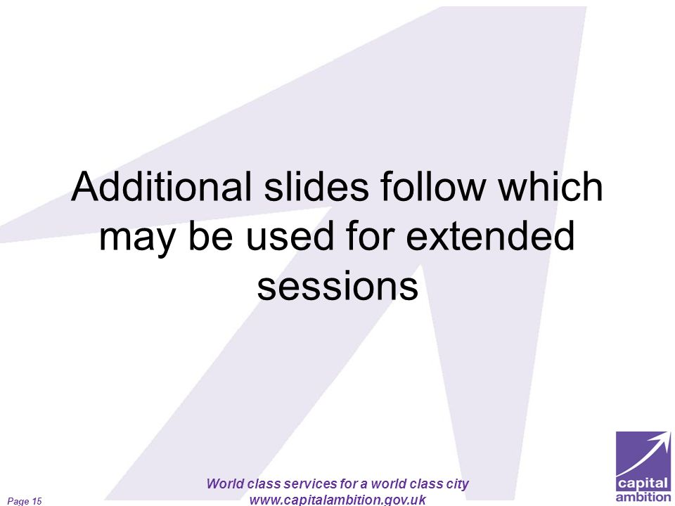Additional slides follow which may be used for extended sessions