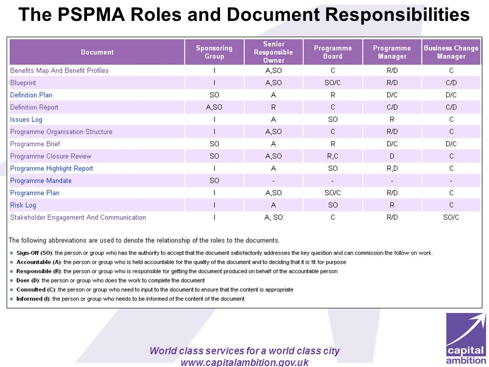 The PSPMA Roles and Document Responsibilities