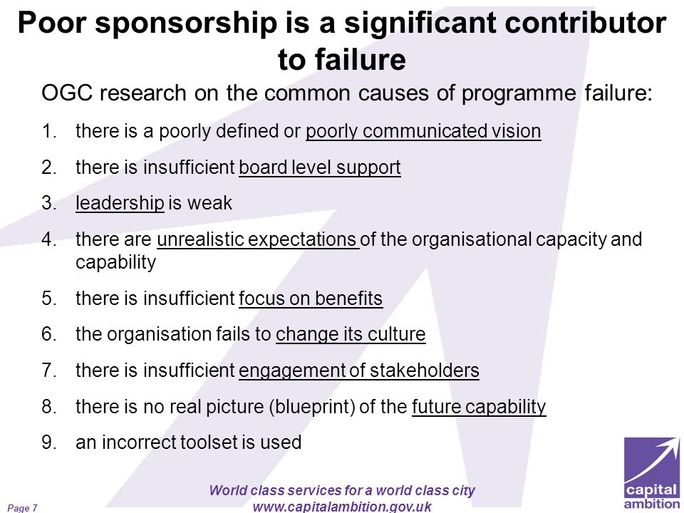 Poor sponsorship is a significant contributor to failure