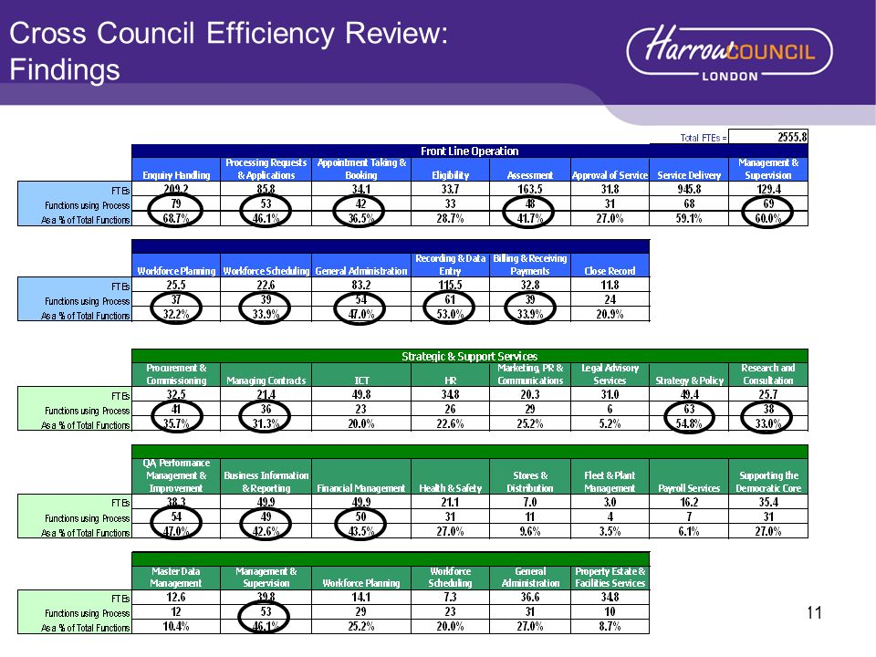 Cross Council Efficiency Review: Findings