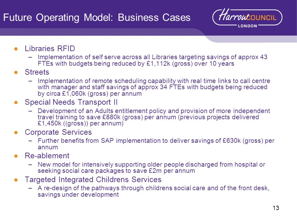Future Operating Model: Business Cases