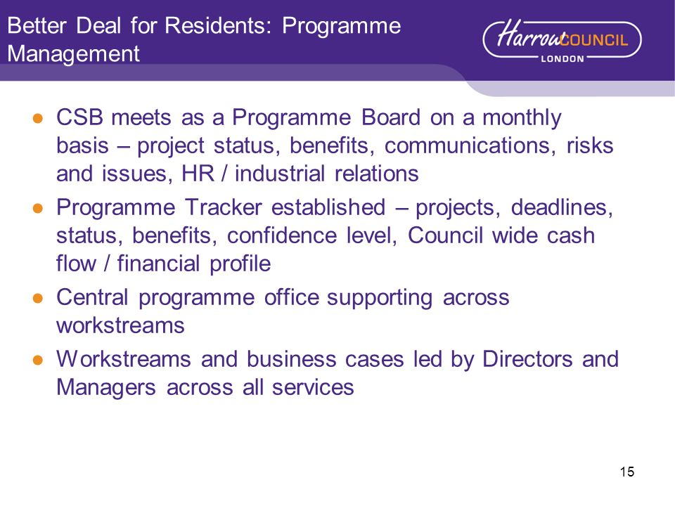 Better Deal for Residents: Programme Management