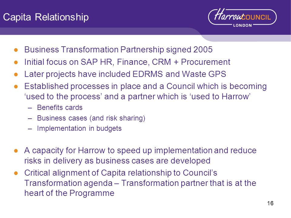Capita Relationship Business Transformation Partnership signed 2005