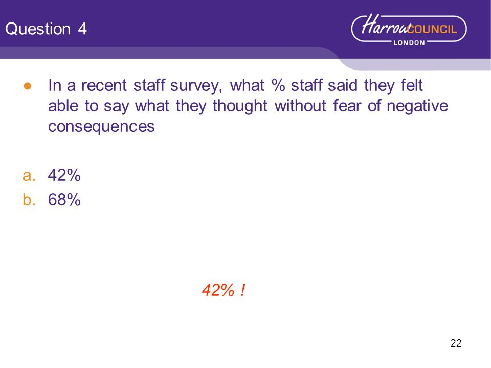 Question 4 In a recent staff survey, what % staff said they felt able to say what they thought without fear of negative consequences.