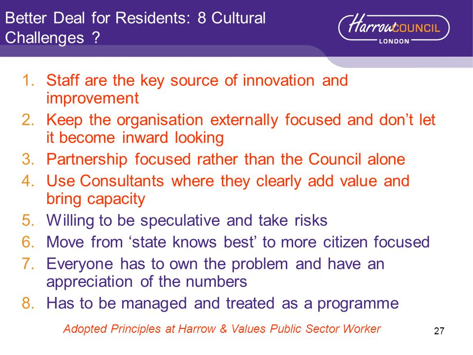 Better Deal for Residents: 8 Cultural Challenges