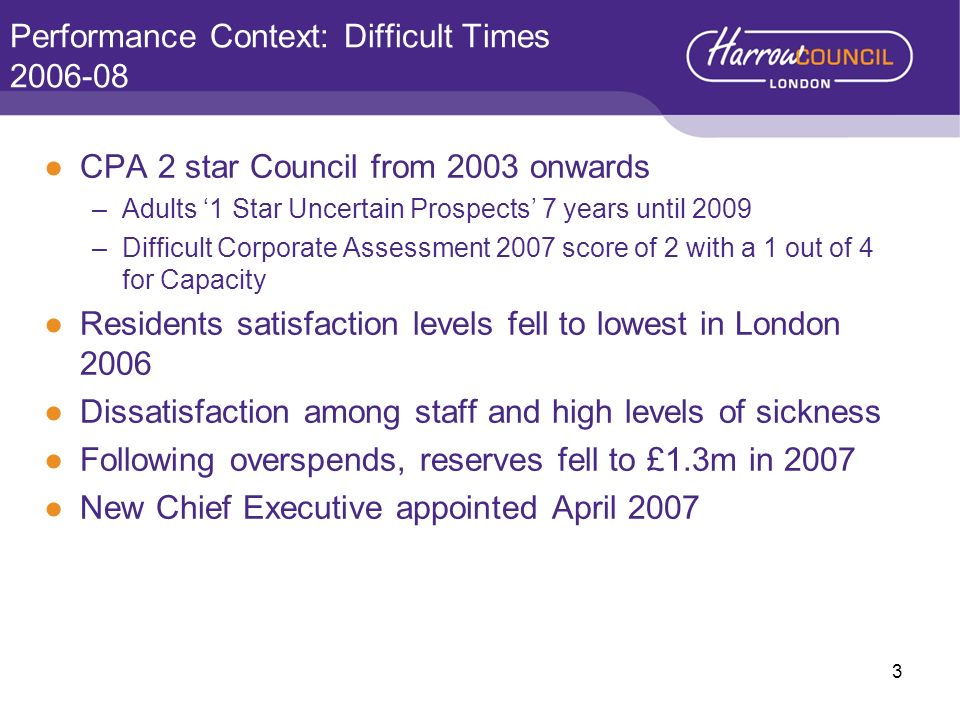 Performance Context: Difficult Times 2006-08