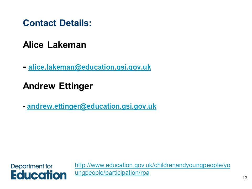 Contact Details: Alice Lakeman - alice. lakeman@education. gsi. gov