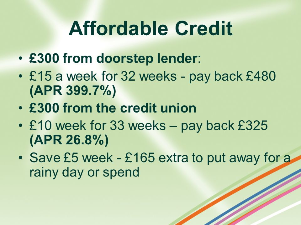 Affordable Credit £300 from doorstep lender: