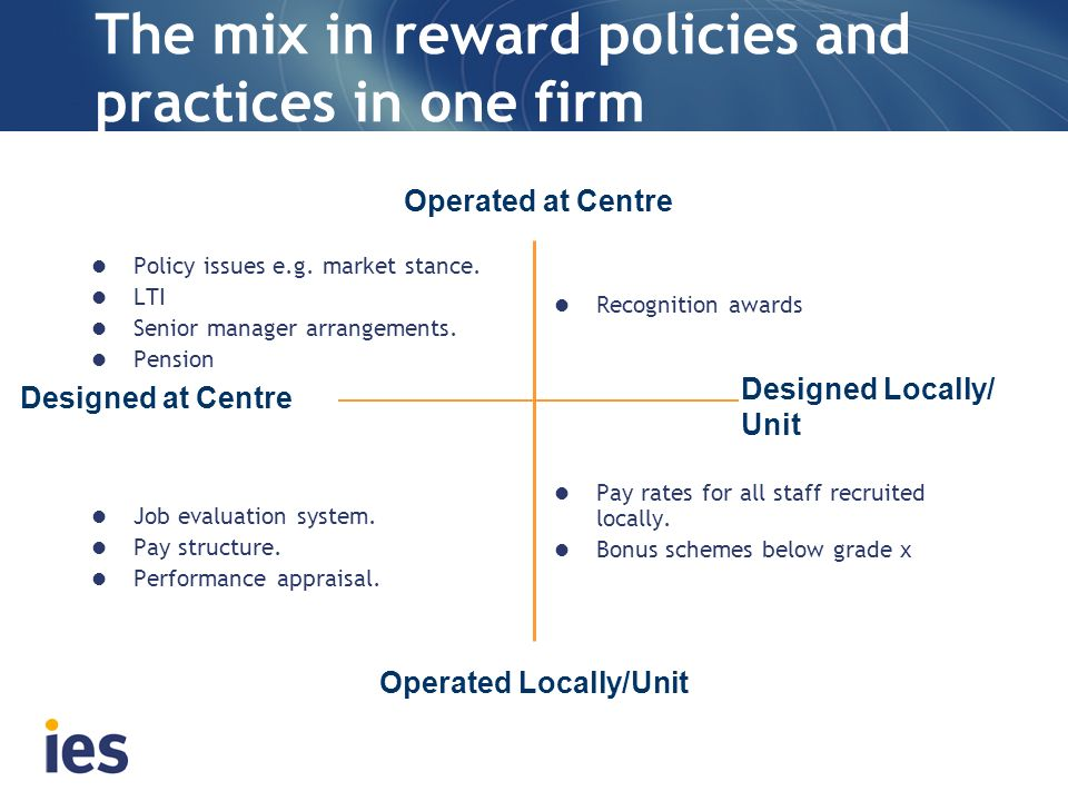 The mix in reward policies and practices in one firm